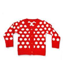 LOL Full Sleeves Polka Dot Sweater - Red