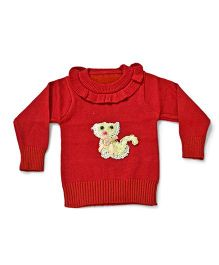LOL Full Sleeves Sweater Animal Design - Red