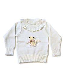 LOL Full Sleeves Sweater Animal Design - Off White