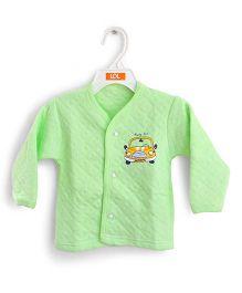 LOL Full Sleeves Quilted Vest Car Design - Light Green