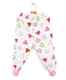 LOL Full Length Printed Fleece Track Pants - White Pink