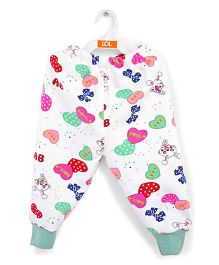 LOL Full Length Track Pants Rabbit Print - White