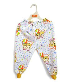 LOL Full Length Fleece Track Pants Friends Print - White Red Yellow