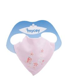 Mycey Cotton Bib Bird Print - Pink