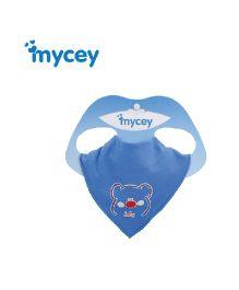 Mycey Cotton Bib Honeybear Print - Blue