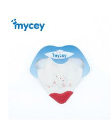 Mycey Bib With Teether Dog Love Print - White