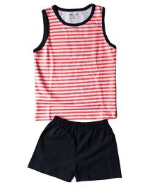 Brown Boy Mini Organic Cotton Striped Sando & Shorts Set - Grey Red & Blue