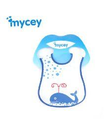 Mycey Stainproof Bib Whale Print - Blue