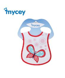 Mycey Stainproof Bib Butterfly Print - Red