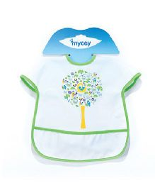 Mycey Big Stainproof Bibs with Crumb Catcher Pocket - Green