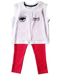 Brown Boy Mini Organic Cotton Now You See Me Print Top And Legging Set - White & Red