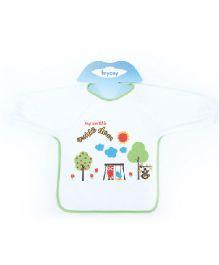 Mycey Terrycotton Sleeved Baby Bib - Green