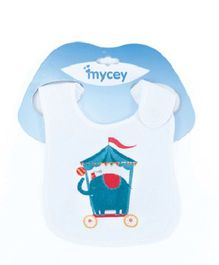Mycey Double Sided Terrycloth Bibs Elephant Print - Blue White