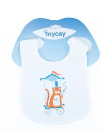 Mycey Double Sided Terrycloth Bibs Tiger Print - White