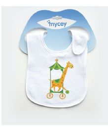 Mycey Double Sided Terrycloth Bibs Giraffe Print - Yellow Green White