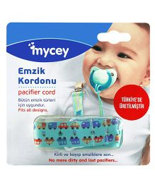 Mycey Pacifier Cord Cars - Blue