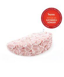 Mycey Pregnancy Support Wedge Pillow Leaf Blade Print - Peach