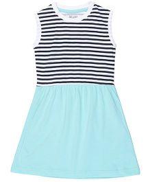 Brown Boy Mini Organic Cotton Stripe Print Dress - White & Mint