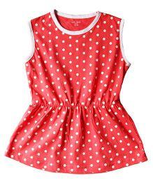 Brown Boy Mini Organic Cotton Polka Dot Dress - Peach