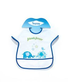 Mycey Stain Proof Bib With Crumb Catcher Pocket - White Blue