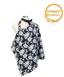 Mycey Nursing Apron Floral Print - Black and White
