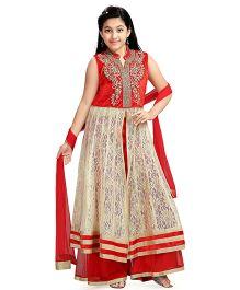 Aarika Girl'S Kurta Palazzo & Dupatta Set - Red