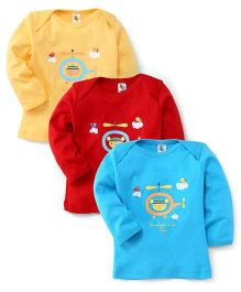 Cucumber Full Sleeves T-Shirt Helicopter Print Pack Of 3 - Yellow Aqua Red (Prints May Vary)