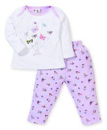 Cucumber Full Sleeves Top And Legging Butterflies Print - Purple & White