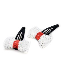 Knotty Ribbons Pair Of Handmade Bow Hair Clip - White