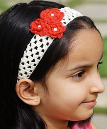 Knotty Ribbons Handmade Crochet Headband With Crochet Flowers - Red