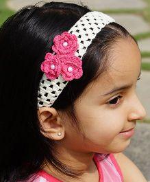 Knotty Ribbons Handmade Crochet Headband With Crochet Flowers - Pink