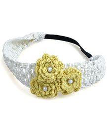Knotty Ribbons Handmade Crochet Headband With Crochet Flowers - Yellow
