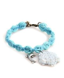 Knotty Ribbons Adjustable Charms & Crochet Flower Anklet Or Bracelet - Blue