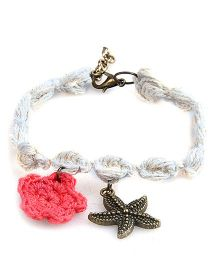 Knotty Ribbons Adjustable Charms & Crochet Flower Anklet Or Bracelet - White