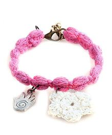Knotty Ribbons Adjustable Charms & Crochet Flower Anklet Or Bracelet - Pink