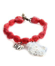 Knotty Ribbons Adjustable Charms & Crochet Flower Anklet Or Bracelet - Red