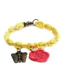 Knotty Ribbons Adjustable Charms & Crochet Flower Anklet Or Bracelet - Yellow