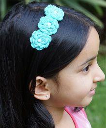 Knotty Ribbons Three Crochet Flower Hairband - Blue