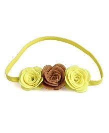 Knotty Ribbons Three Flower Headband - Yellow & Brown