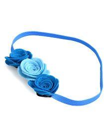Knotty Ribbons Three Crochet Flower Headband - Blue