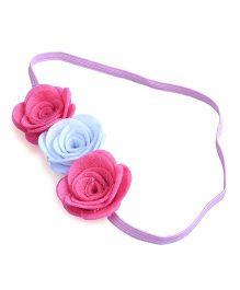 Knotty Ribbons Three Flower Headband - Pink & White
