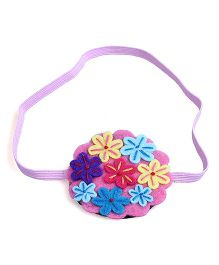 Knotty Ribbons Embroidery Flower Bunch Headband - Pink & Multicolour