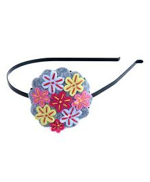 Knotty Ribbons Embroidery Flower Bunch Hair Band - Multicolour