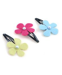 Knotty Ribbons Set Of Three Flower Snap Clips - Pink Yellow & Blue