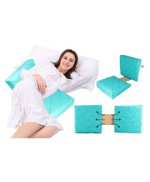 Get It Double Wedge Pregnancy Pillow With Quilted Cover - Sea Green