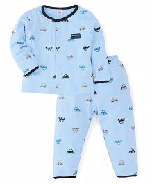 ToffyHouse Full Sleeves Night Suit Car Print - Light Blue