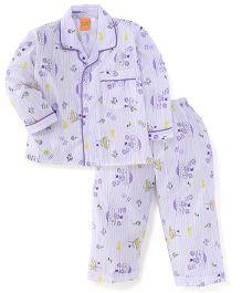 Yellow Duck Full Sleeves Night Suit Multi Print - White Purple