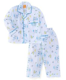 Yellow Duck Full Sleeves Night Suit Multi Print - White Blue