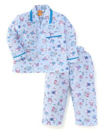 Yellow Duck Full Sleeves Night Suit Teddy Print - Blue