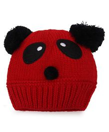 Flaunt Chic Panda Winter Cap - Red